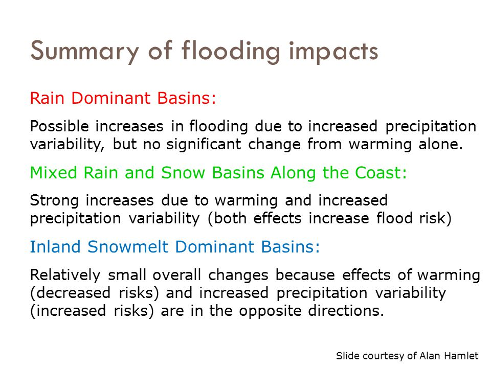 Rain Dominant Basins: Possible increases in flooding due to increased precipitation variability, but no significant change from warming alone. Mixed R