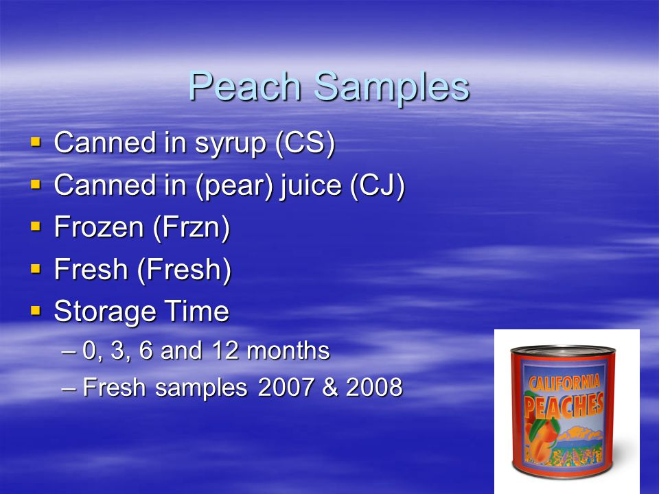 Peach Samples  Canned in syrup (CS)  Canned in (pear) juice (CJ)  Frozen (Frzn)  Fresh (Fresh)  Storage Time –0, 3, 6 and 12 months –Fresh samples 2007 & 2008