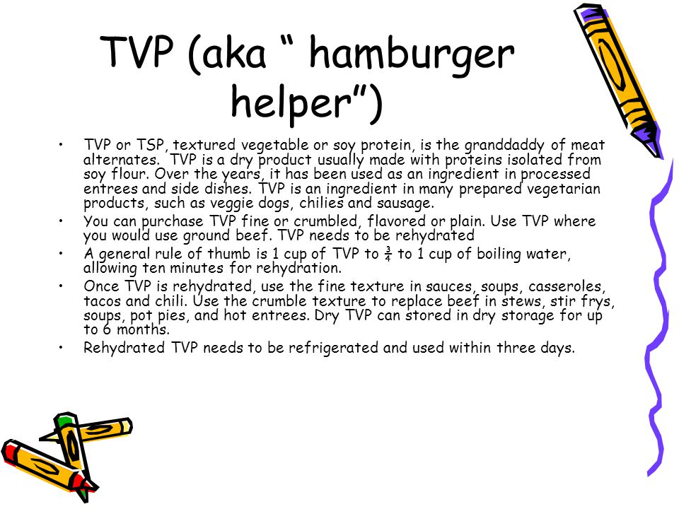 TVP (aka hamburger helper ) TVP or TSP, textured vegetable or soy protein, is the granddaddy of meat alternates.