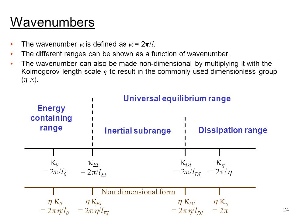 24 Wavenumbers The wavenumber  is defined as  = 2  / l. The different ranges can be shown as a function of wavenumber. The wavenumber can also be m