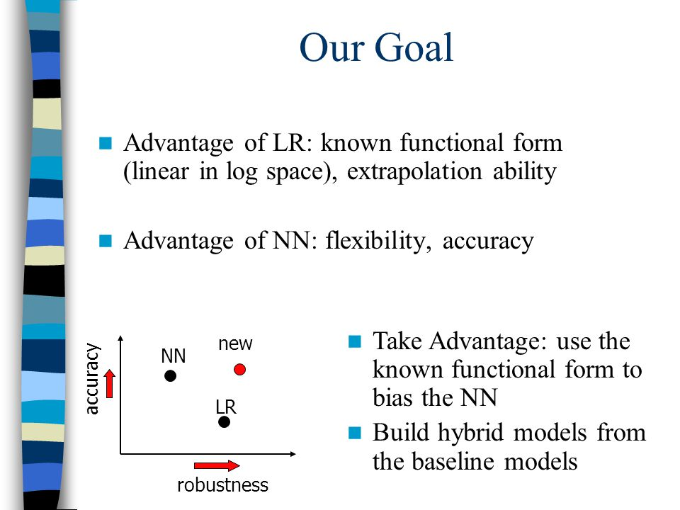 Our Goal Advantage of LR: known functional form (linear in log space), extrapolation ability Advantage of NN: flexibility, accuracy robustness accurac