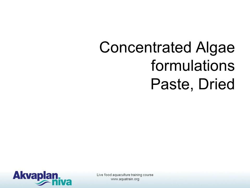 Live food aquaculture training course www.aquatrain.org Concentrated Algae formulations Paste, Dried