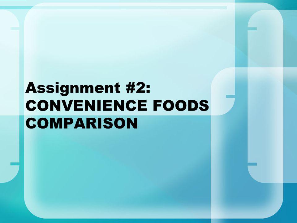 Assignment #2: CONVENIENCE FOODS COMPARISON