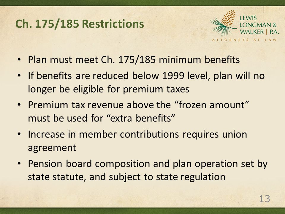 Ch. 175/185 Restrictions Plan must meet Ch.