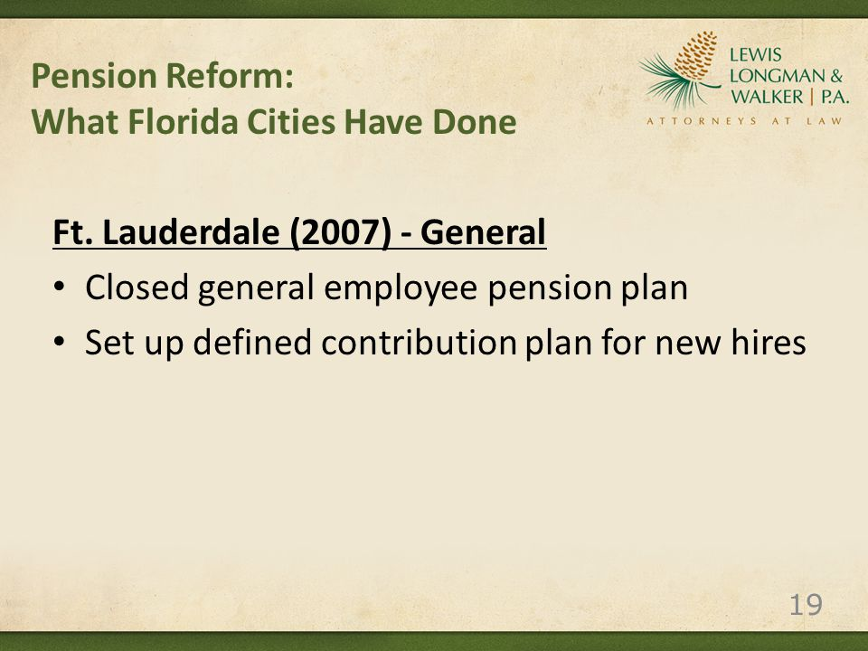Pension Reform: What Florida Cities Have Done Ft.