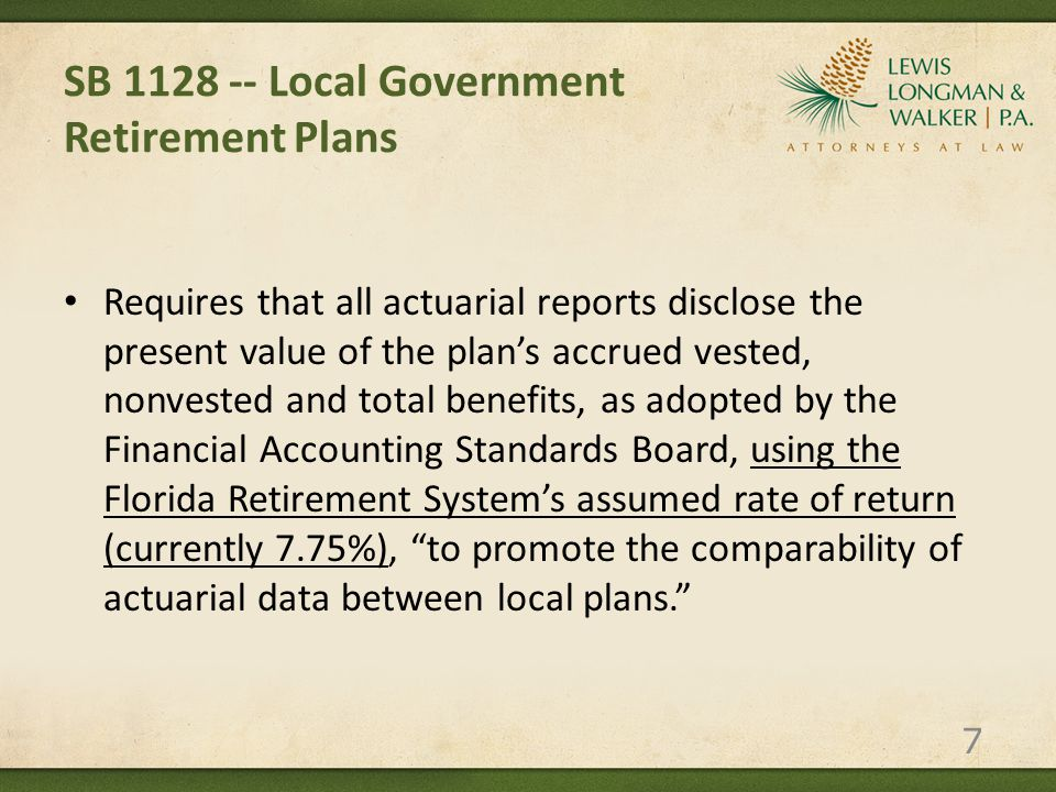SB 1128 -- Local Government Retirement Plans Department of Management Services to provide a fact sheet on each participating local government defined benefit pension plan summarizing the plan's actuarial status.