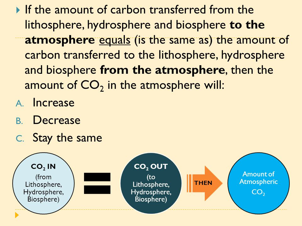  If the amount of carbon transferred from the lithosphere, hydrosphere and biosphere to the atmosphere equals (is the same as) the amount of carbon t