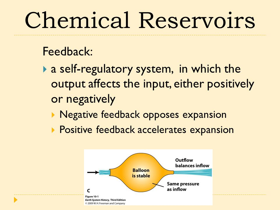 Feedback:  a self-regulatory system, in which the output affects the input, either positively or negatively  Negative feedback opposes expansion  P
