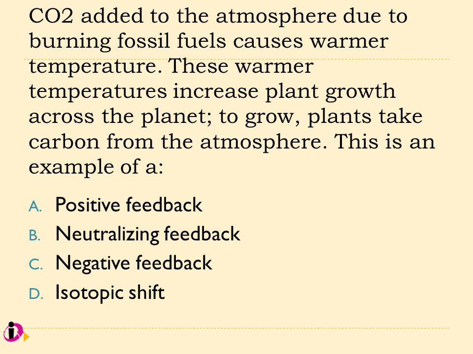CO2 added to the atmosphere due to burning fossil fuels causes warmer temperature. These warmer temperatures increase plant growth across the planet;