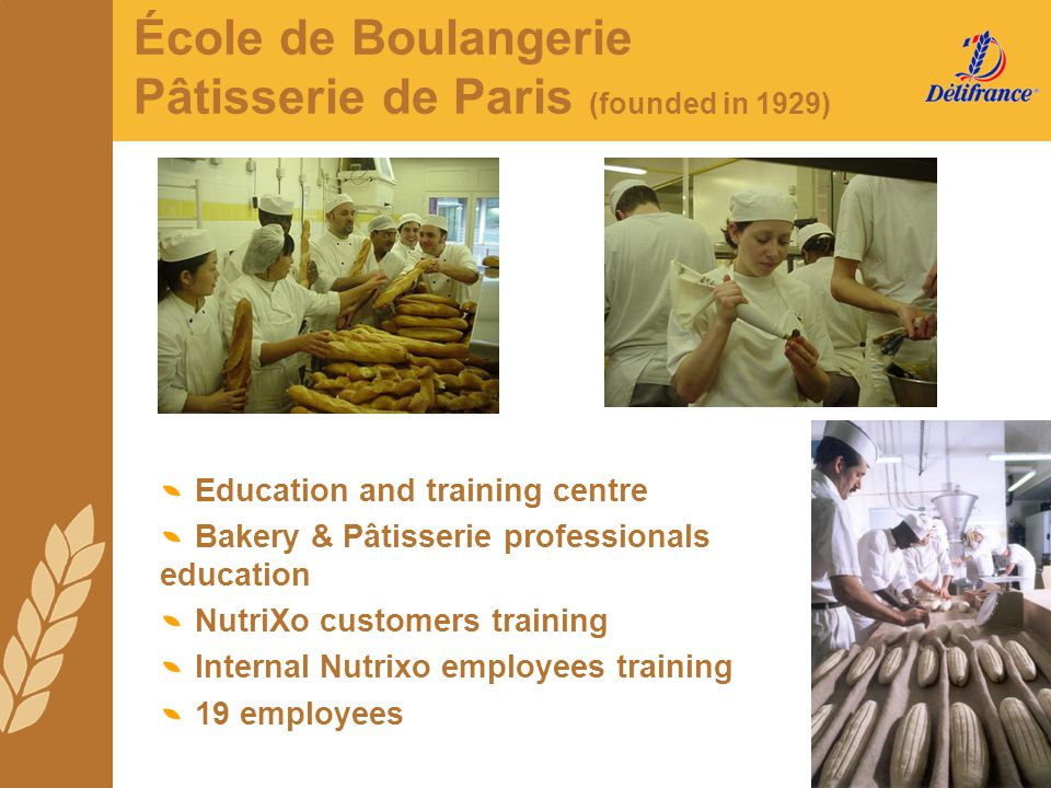 Education and training centre Bakery & Pâtisserie professionals education NutriXo customers training Internal Nutrixo employees training 19 employees
