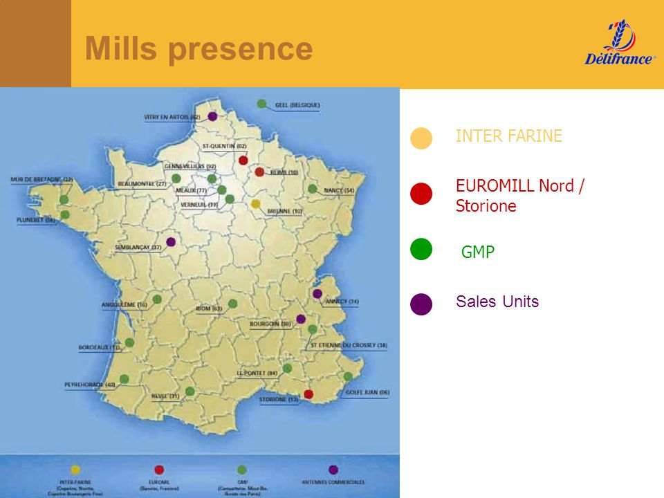 Mills presence INTER FARINE EUROMILL Nord / Storione GMP Sales Units
