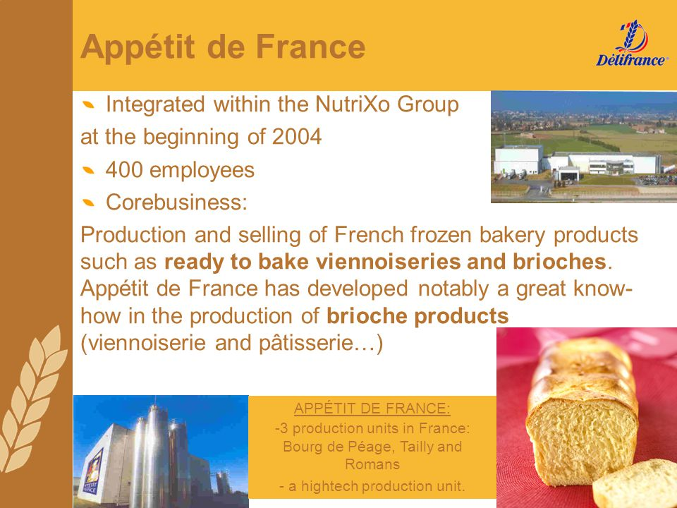 Appétit de France Integrated within the NutriXo Group at the beginning of 2004 400 employees Corebusiness: Production and selling of French frozen bak