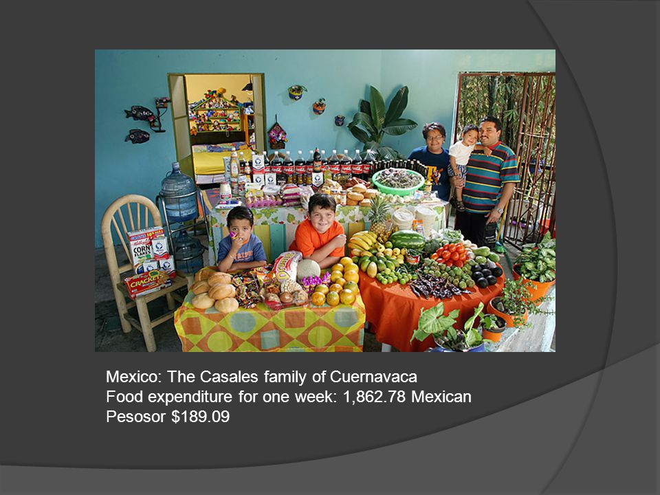 Mexico: The Casales family of Cuernavaca Food expenditure for one week: 1,862.78 Mexican Pesosor $189.09
