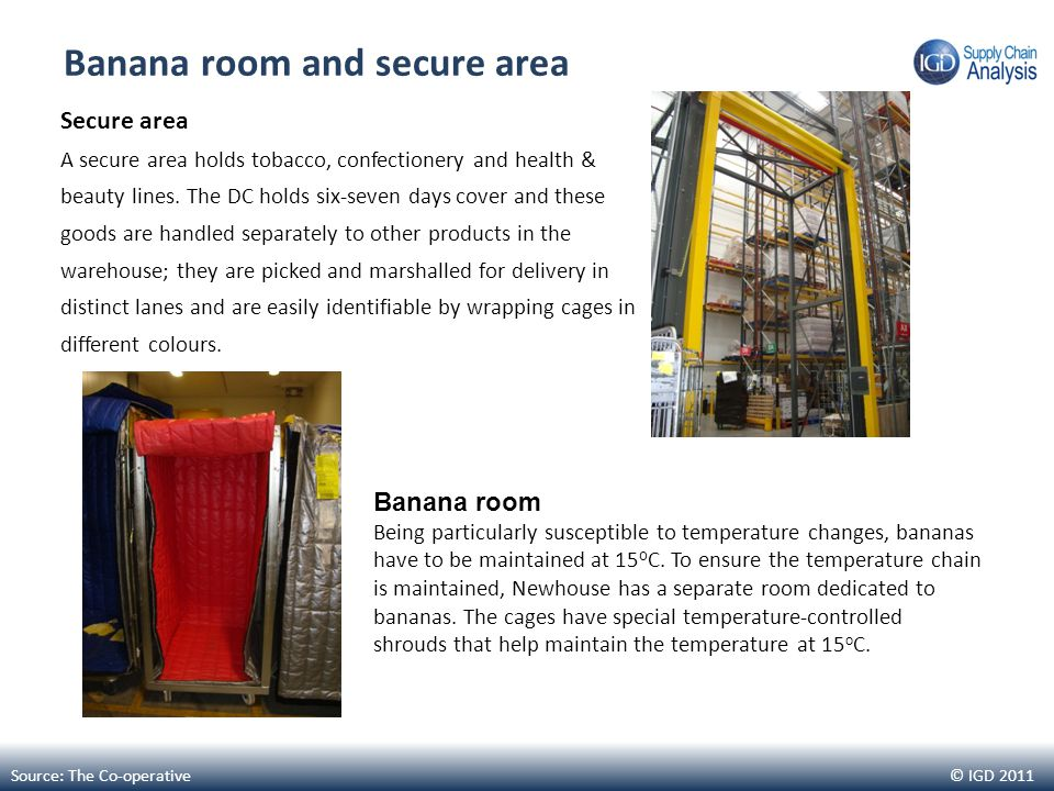 © IGD 2011 Banana room and secure area Secure area A secure area holds tobacco, confectionery and health & beauty lines. The DC holds six-seven days c