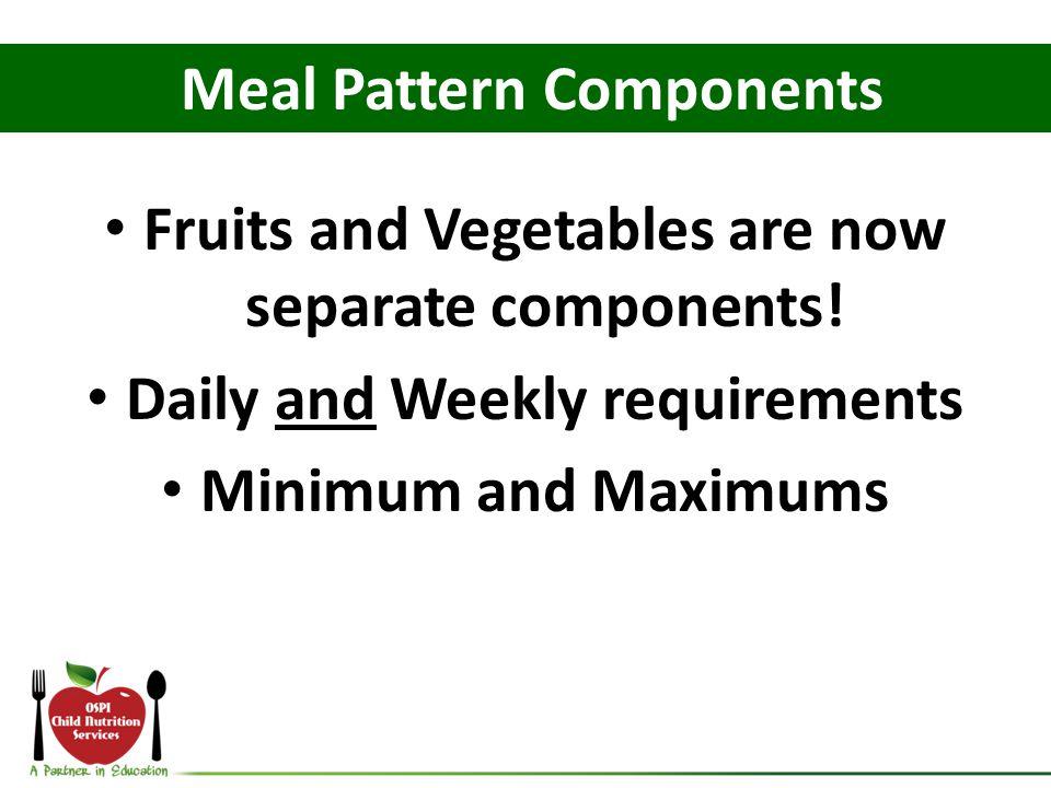 Milk Food ComponentsGrade K - 5Grade 6 – 8Grade 9 - 12 Milk 5 cups/week (1 cup daily) 5 cups/week (1 cup daily) 5 cups/week (1 cup daily)