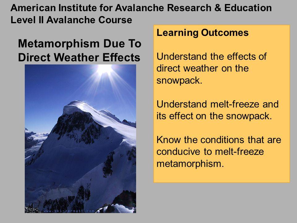 This lesson discusses metamorphic processes in the snowpack.