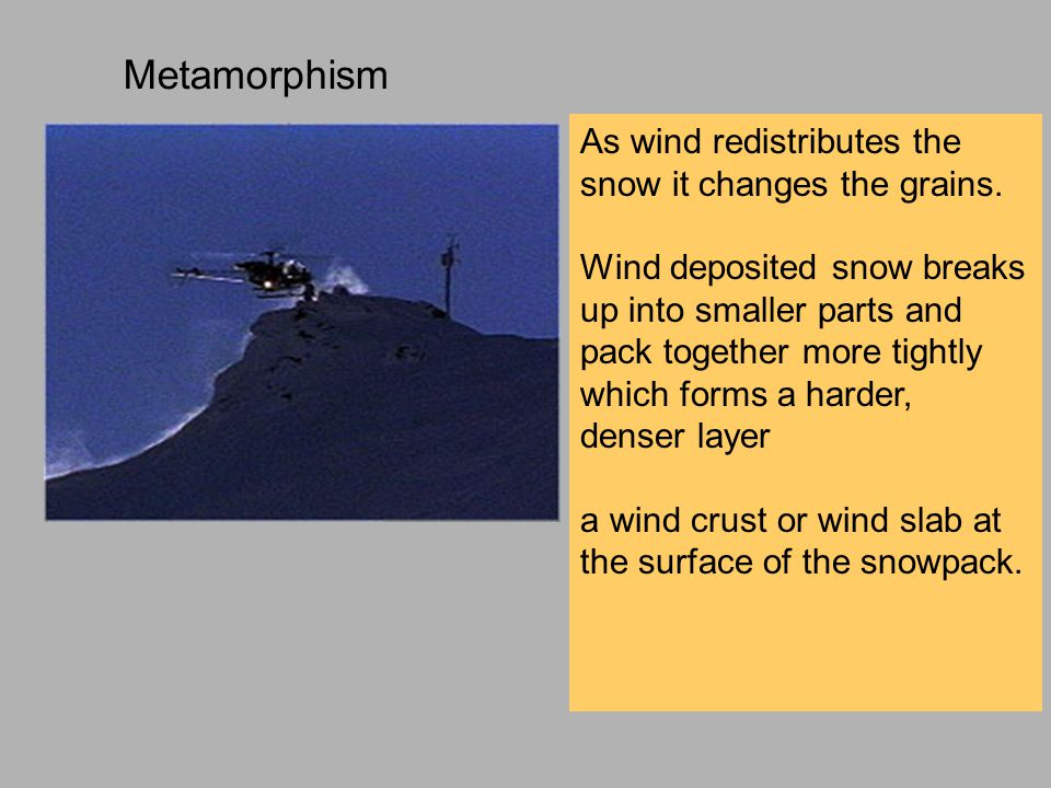 High levels of humidity and warm temperatures enhance the formation of wind slab and crust Warm snow and humid air tend to increase bonding between grains as they are moved by the wind.