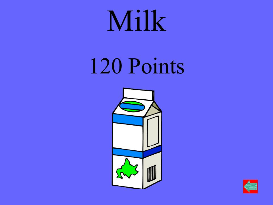 Name something you can find in the dairy section of the supermarket 14 25 36 Move to next round Move to next round