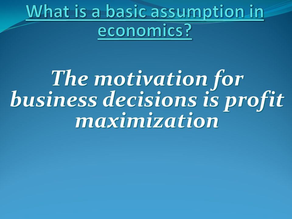 The motivation for business decisions is profit maximization