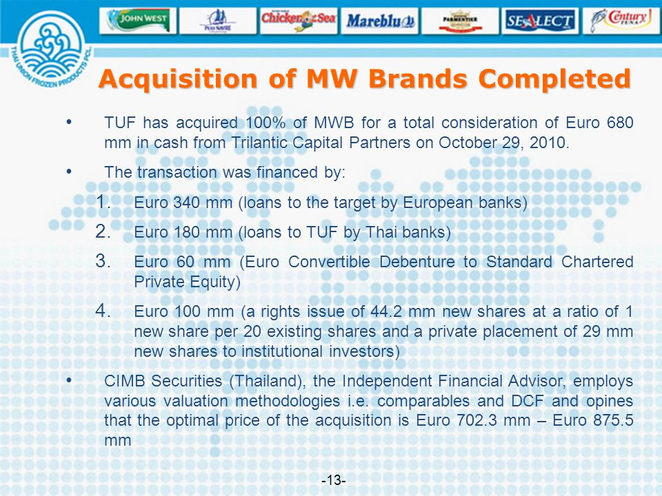 TUF has acquired 100% of MWB for a total consideration of Euro 680 mm in cash from Trilantic Capital Partners on October 29, 2010. The transaction was
