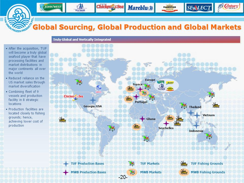Truly Global and Vertically Integrated Thailand Georgia, USA Indonesia Vietnam Ghana Seychelles Portugal France Europe TUF Markets TUF Production Base