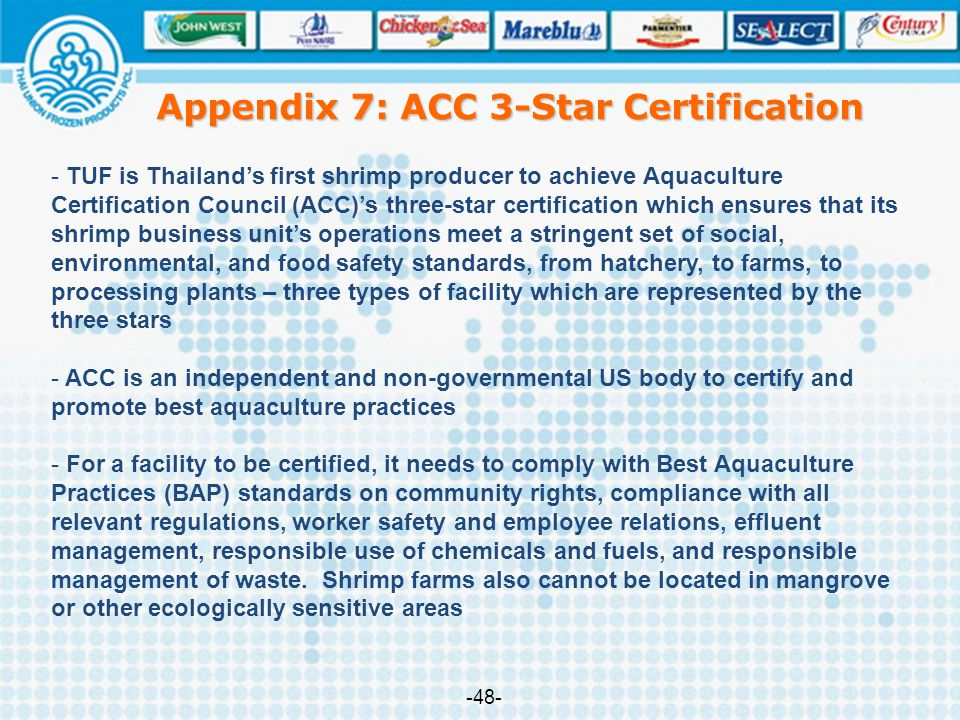 Appendix 7: ACC 3-Star Certification - TUF is Thailand's first shrimp producer to achieve Aquaculture Certification Council (ACC)'s three-star certifi