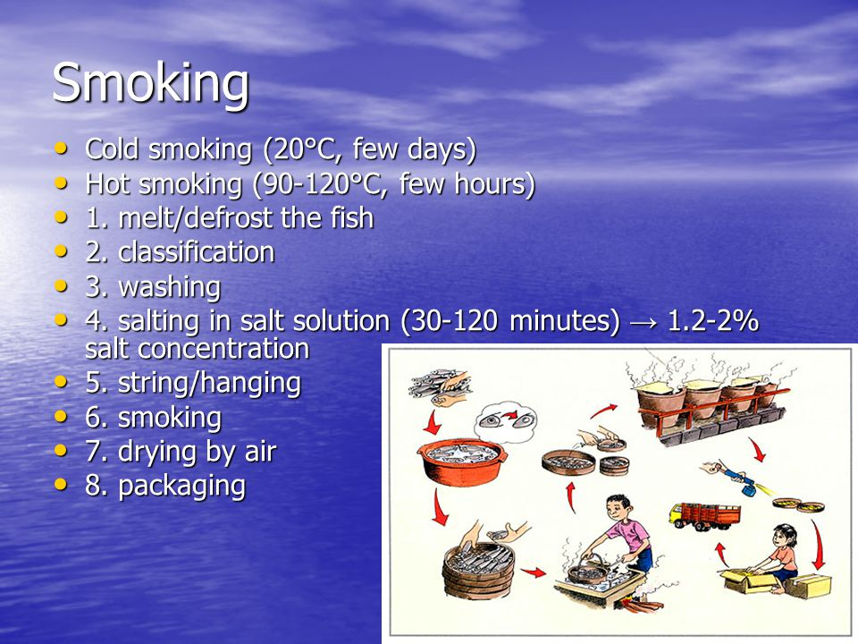 Smoking Cold smoking (20°C, few days) Cold smoking (20°C, few days) Hot smoking (90-120°C, few hours) Hot smoking (90-120°C, few hours) 1.