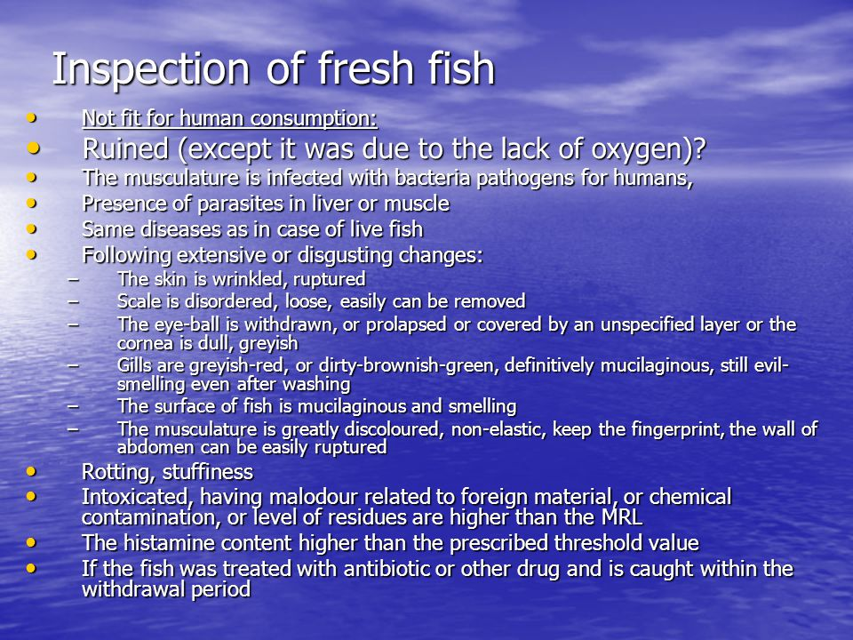 Inspection of fresh fish Not fit for human consumption: Not fit for human consumption: Ruined (except it was due to the lack of oxygen).