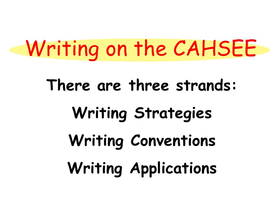 Writing on the CAHSEE There are three strands: Writing Strategies Writing Conventions Writing Applications