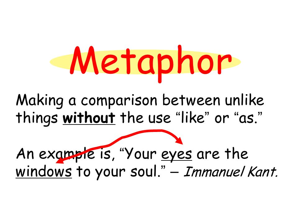 """Metaphor Making a comparison between unlike things without the use """" like """" or """" as. """" An example is, """" Your eyes are the windows to your soul. """" – Im"""