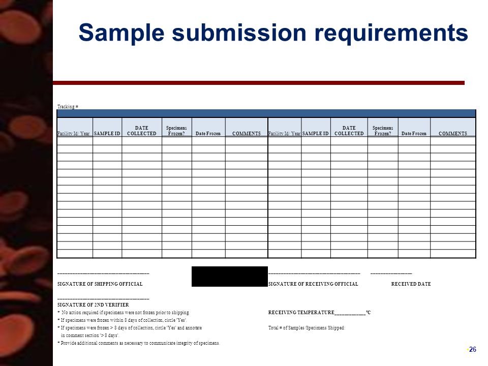 26 Sample submission requirements Tracking # Facility Id/ YearSAMPLE ID DATE COLLECTED Specimens Frozen Date FrozenCOMMENTSFacility Id/ YearSAMPLE ID DATE COLLECTED Specimens Frozen Date FrozenCOMMENTS ______________________________________ ______________________________________ _________________ SIGNATURE OF SHIPPING OFFICIALSHIPPING DATESIGNATURE OF RECEIVING OFFICIAL RECEIVED DATE ______________________________________ SIGNATURE OF 2ND VERIFIER * No action required if specimens were not frozen prior to shipping.RECEIVING TEMPERATURE_____________°C * If specimens were frozen within 8 days of collection, circle Yes .