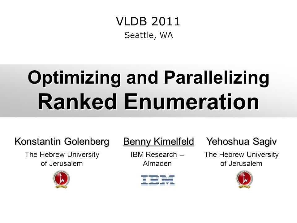 Optimizing and Parallelizing Ranked Enumeration Konstantin Golenberg Benny Kimelfeld Benny Kimelfeld Yehoshua Sagiv The Hebrew University of Jerusalem