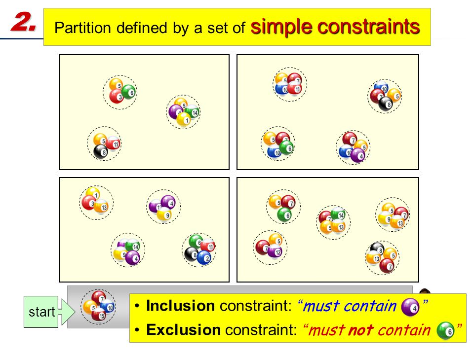"12 2. Partition the Remaining Answers simple constraints Partition defined by a set of simple constraints Output start Inclusion constraint: "" must co"