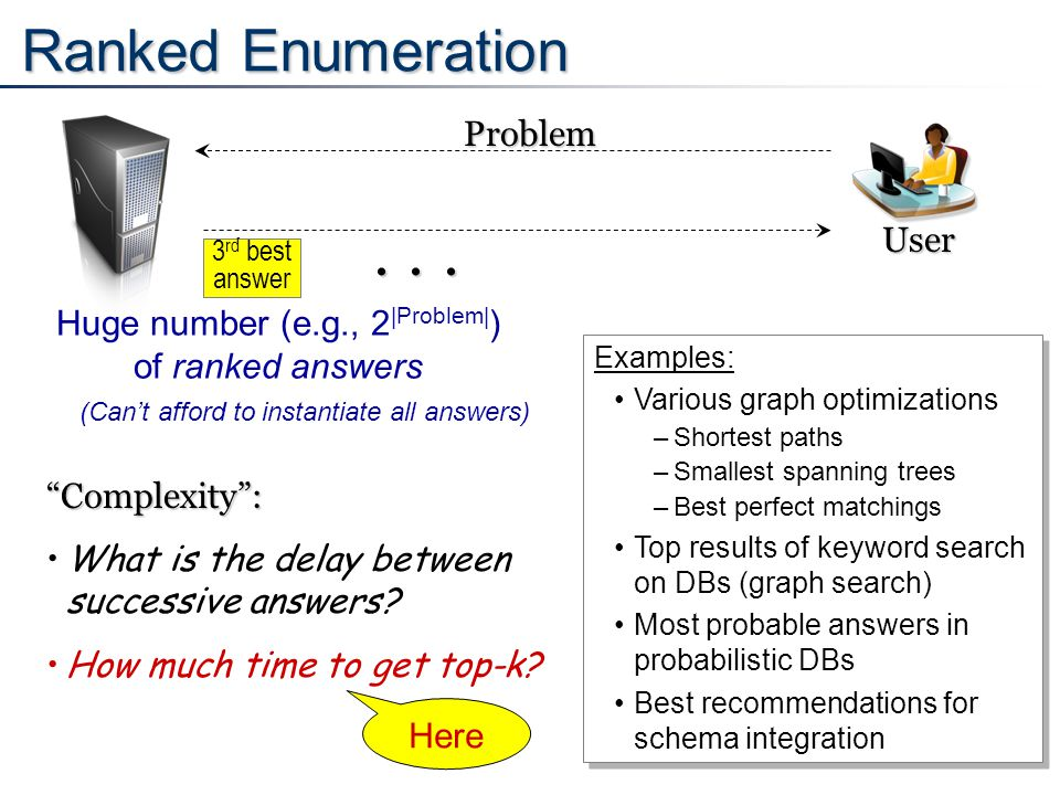 4 Ranked Enumeration User Problem Huge number (e.g., 2 |Problem| ) of ranked answers best answer 2 nd best answer 3 rd best answer... Examples: Variou