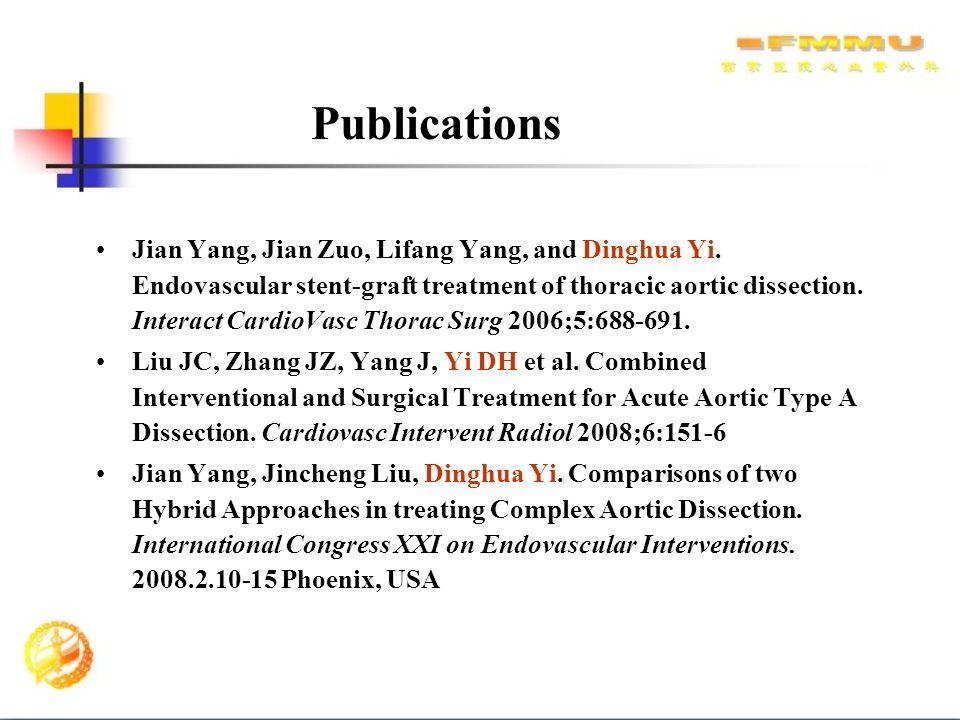 Jian Yang, Jian Zuo, Lifang Yang, and Dinghua Yi. Endovascular stent-graft treatment of thoracic aortic dissection. Interact CardioVasc Thorac Surg 20
