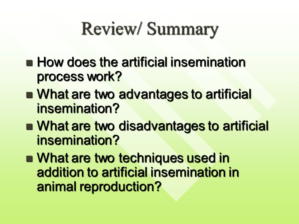 Review/ Summary How does the artificial insemination process work.