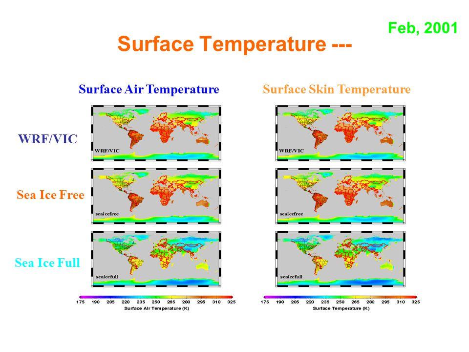 Surface Temperature --- Surface Air Temperature Surface Skin Temperature WRF/VIC Sea Ice Free Sea Ice Full Feb, 2001