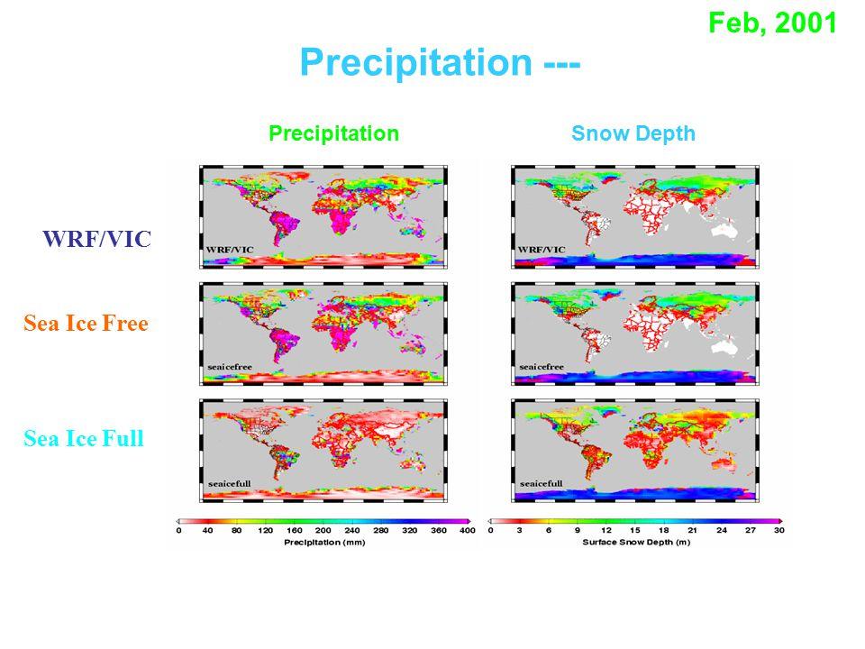WRF/VIC Precipitation --- Feb, 2001 Sea Ice Free Sea Ice Full PrecipitationSnow Depth