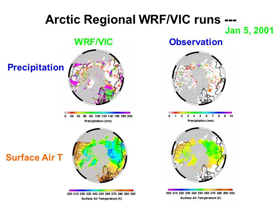 Arctic Regional WRF/VIC runs --- Jan 5, 2001 Precipitation Surface Air T WRF/VICObservation