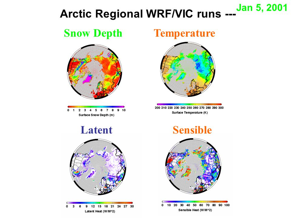 Arctic Regional WRF/VIC runs --- SensibleLatent Snow Depth Temperature Jan 5, 2001