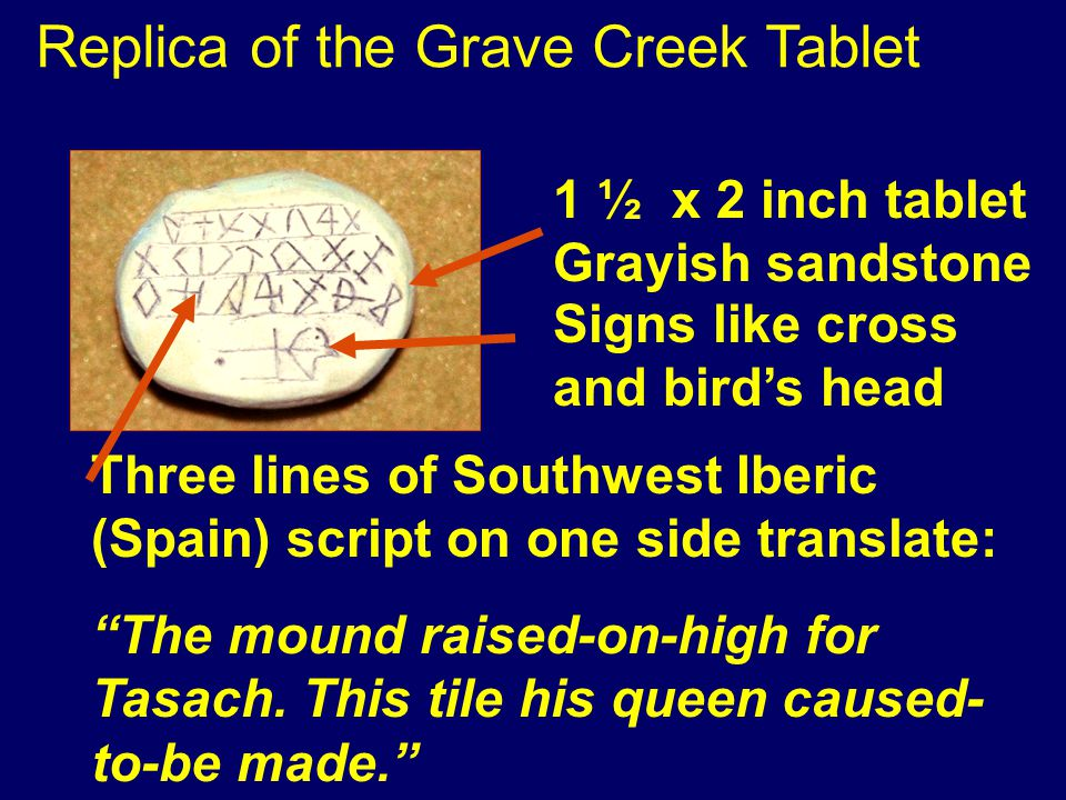 1 ½ x 2 inch tablet Grayish sandstone Three lines of Southwest Iberic (Spain) script on one side translate: The mound raised-on-high for Tasach.
