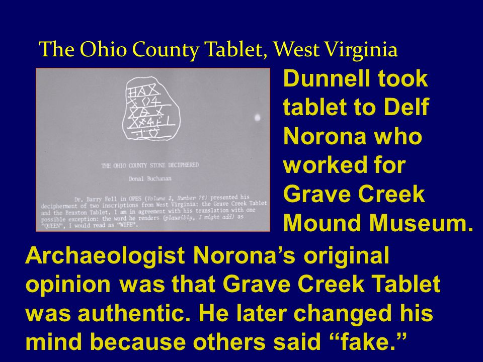 Dunnell took tablet to Delf Norona who worked for Grave Creek Mound Museum.