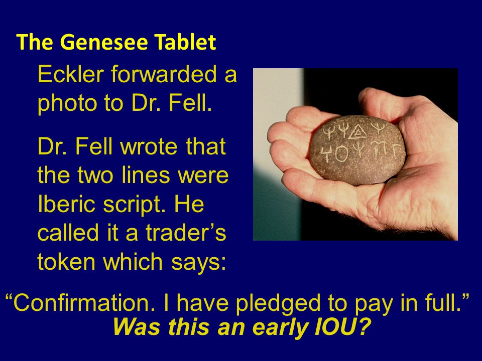 The Genesee Tablet Eckler forwarded a photo to Dr.