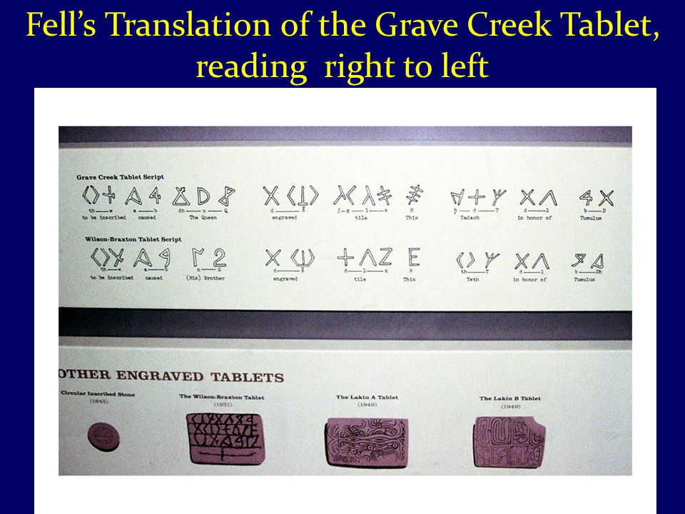 Fell's Translation of the Grave Creek Tablet, reading right to left