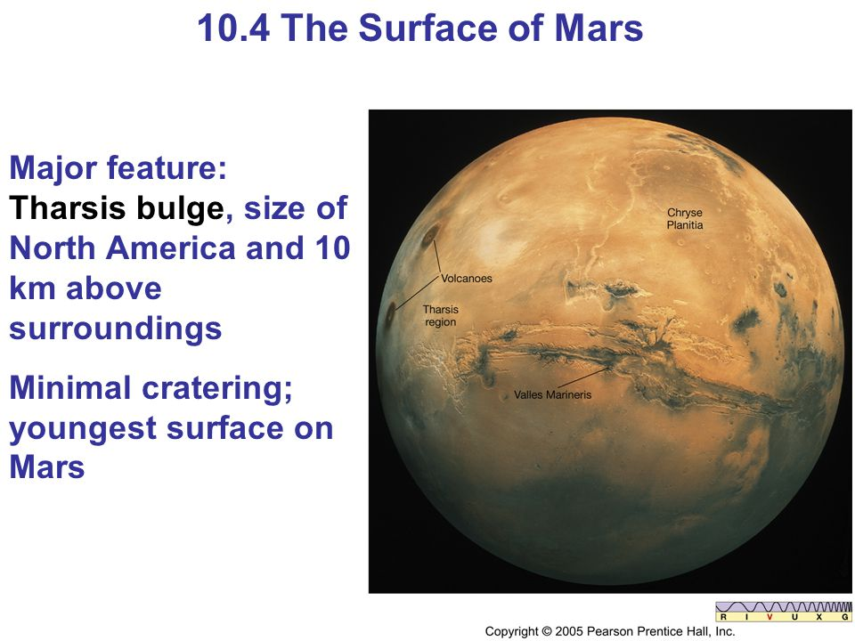 10.4 The Surface of Mars Major feature: Tharsis bulge, size of North America and 10 km above surroundings Minimal cratering; youngest surface on Mars
