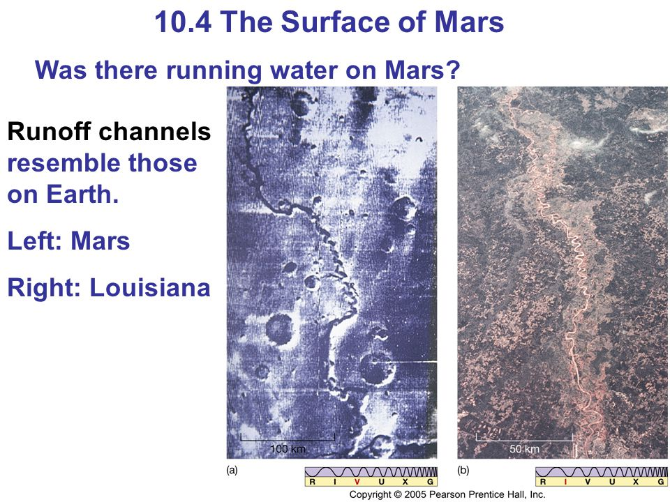 10.4 The Surface of Mars Was there running water on Mars? Runoff channels resemble those on Earth. Left: Mars Right: Louisiana