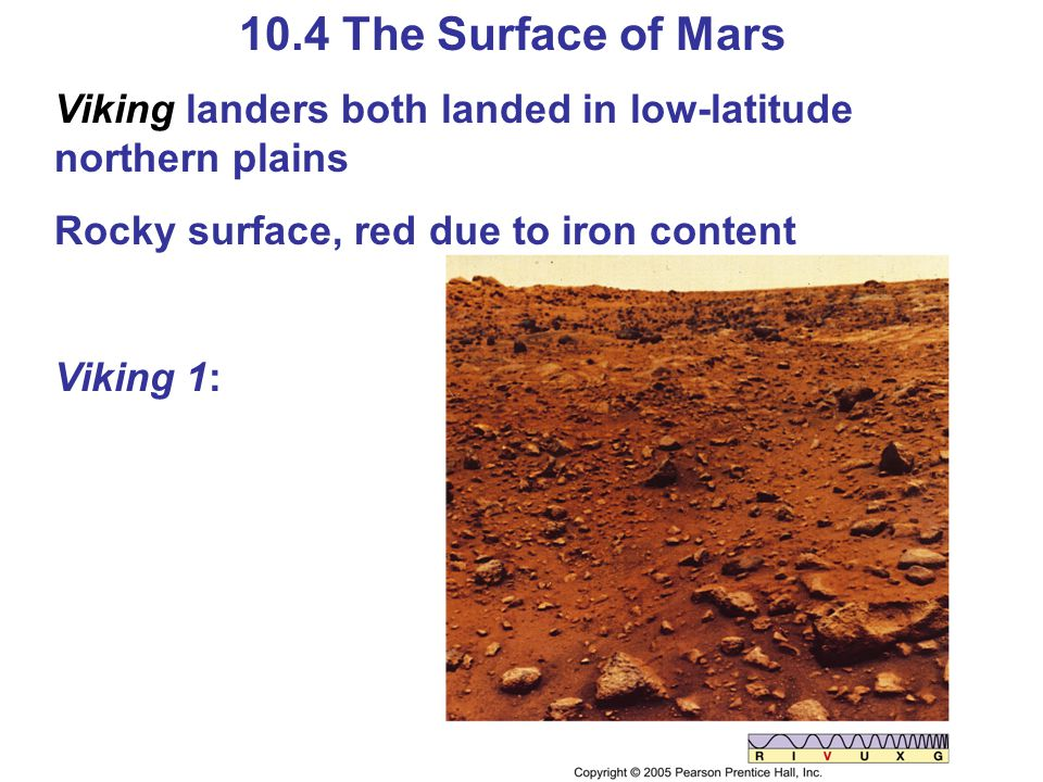 10.4 The Surface of Mars Viking landers both landed in low-latitude northern plains Rocky surface, red due to iron content Viking 1: