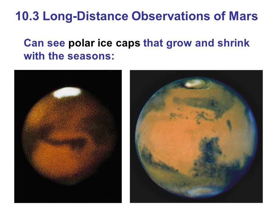 10.3 Long-Distance Observations of Mars Can see polar ice caps that grow and shrink with the seasons: