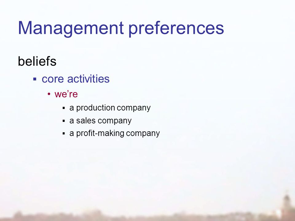 Management preferences beliefs  core activities we're  a production company  a sales company  a profit-making company