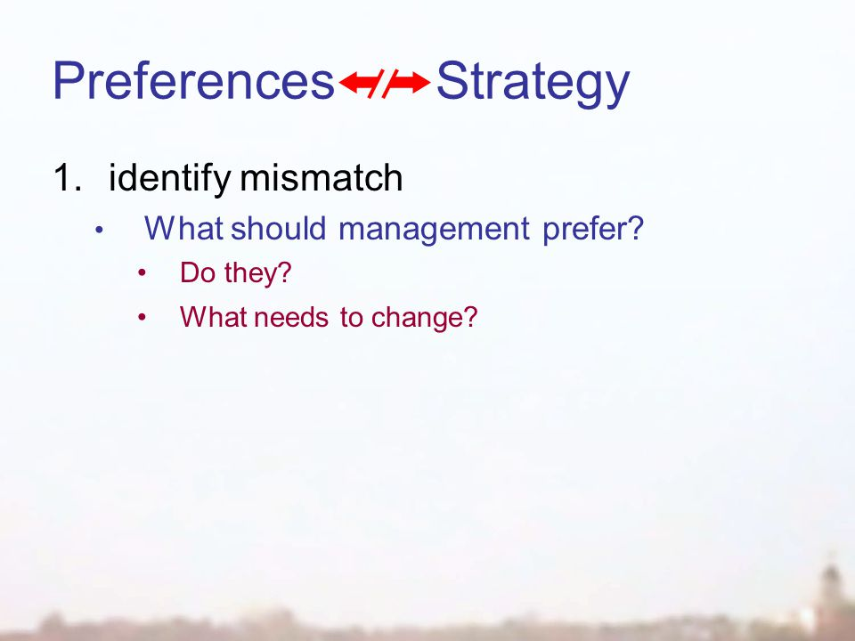 Preferences Strategy 1.identify mismatch What should management prefer.